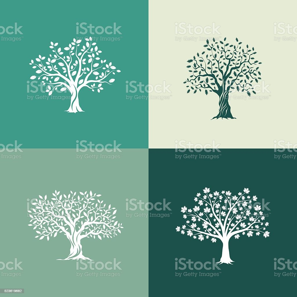 trees silhouette set vector art illustration