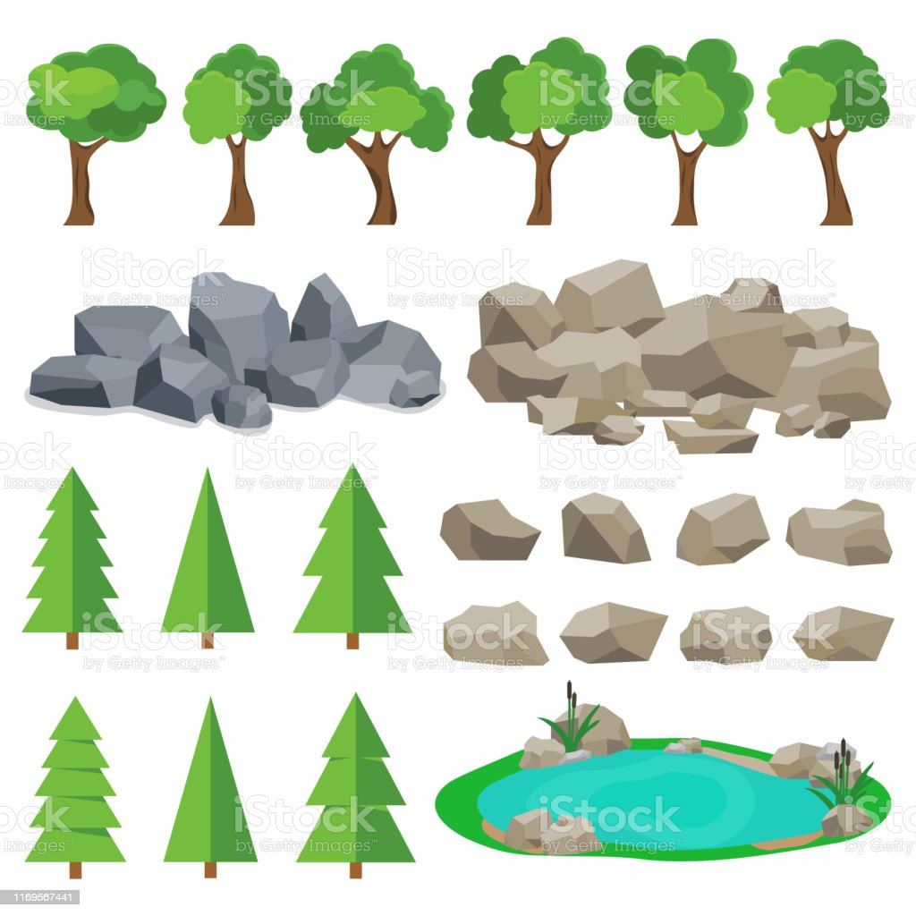 Trees Stones Lakes A Set Of Realistic Elements Of Nature Flat Design Vector Illustration Vector Stock Illustration Download Image Now Istock They were downloaded originally from. trees stones lakes a set of realistic elements of nature flat design vector illustration vector stock illustration download image now istock