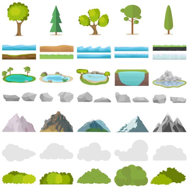ilustraciones, imágenes clip art, dibujos animados e iconos de stock de árboles, piedras, lagos, montañas, arbustos. un conjunto de elementos realistas de la naturaleza. - mountain top