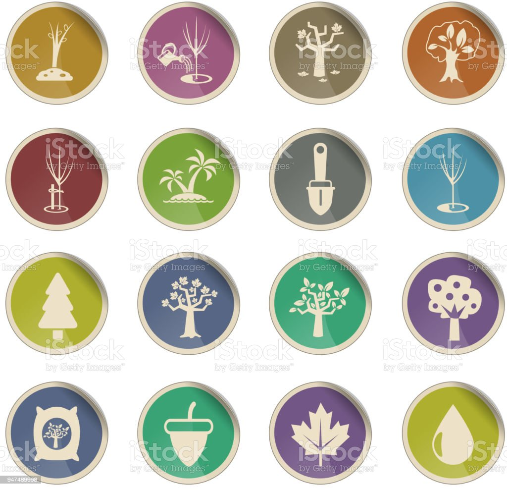 trees tools icon set vector art illustration
