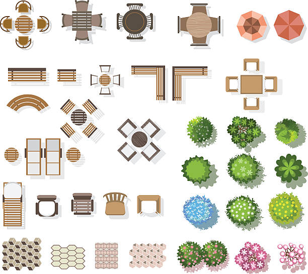 bäume top-ansicht, möbel, boden, für landschaft. vektor-illustration - draufsicht stock-grafiken, -clipart, -cartoons und -symbole