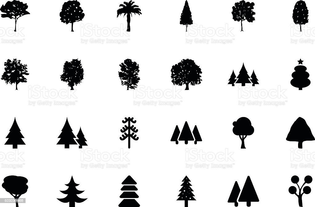 Trees Vector Icons 1 vector art illustration