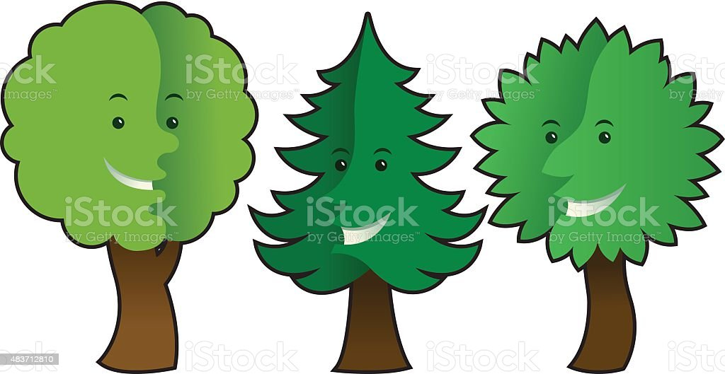 trees with emotions vector art illustration