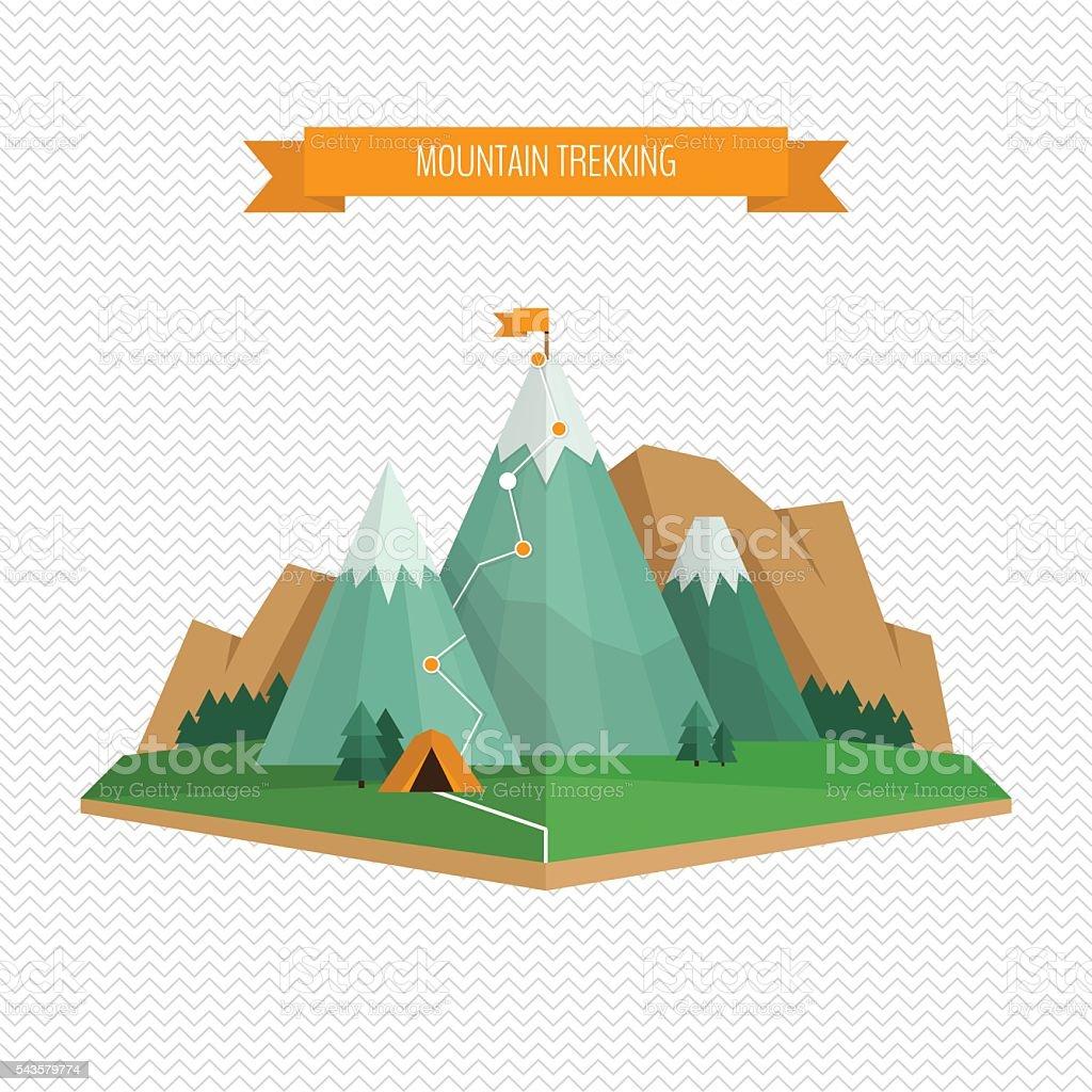 Trekking and hiking concept. vector art illustration