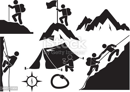 trekking and camping icon set