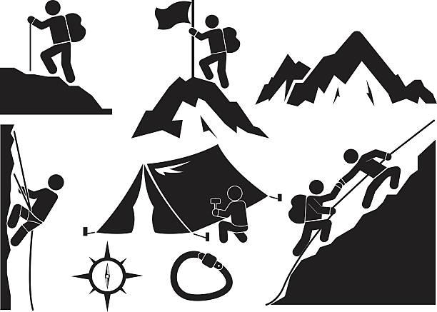 trekking trekking and camping icon set climbing stock illustrations