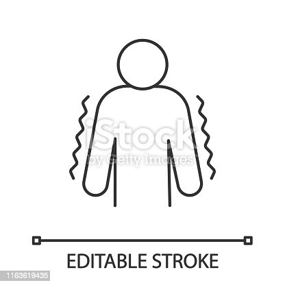 Trembling linear vector icon. Anxiety. Shaking body. Worrying and afraid person. Chills. Physiological stress symptom. Editable stroke