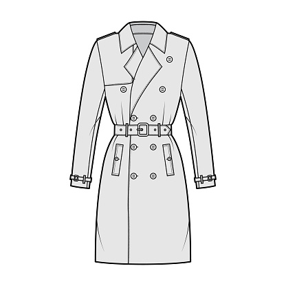 Trench coat technical fashion illustration with belt, double breasted, fitted, long sleeves, napoleon wide lapel collar. Flat jacket template front, grey color style. Women unisex top CAD mockup