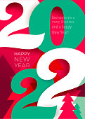istock Trend colored red with green 2022 Happy New Year. Elegant design of colorful 2022 logo number. Perfect typography for design, calendar and new year celebration invite. Christmas decoration vector. 1325945660