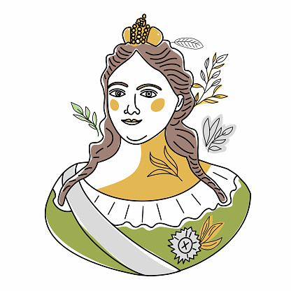 Trend line Illustration of Anna Ioannovna Romanova, niece of Peter the Great and empress of Russian empire. Portrait of historical figure woman in historical dress.