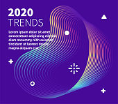 2020 Trends graphic design with abstract gradient line waves. Minimalist graphic template for placards, presentations, banners, brochures.