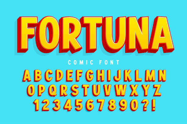 Trendy 3d comical font design, colorful alphabet, typeface vector art illustration