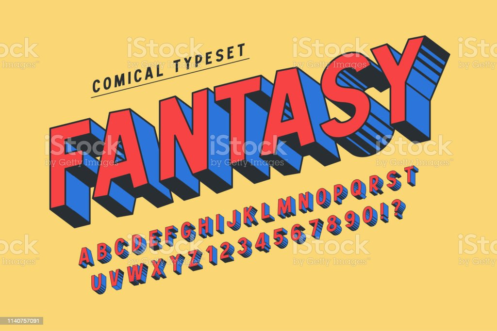 Trendy 3d Comical Font Design Colorful Alphabet Typeface