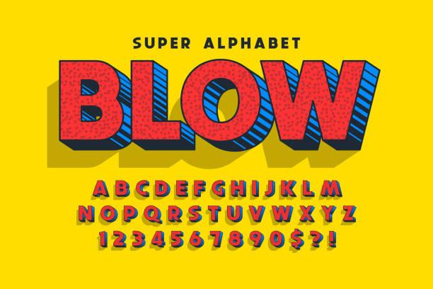 trendige 3d komische schriftdesign, bunte alphabet, schrift. - comic font stock-grafiken, -clipart, -cartoons und -symbole