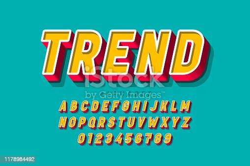 Trendy 3d style font, alphabet letters and numbers, vector illustration