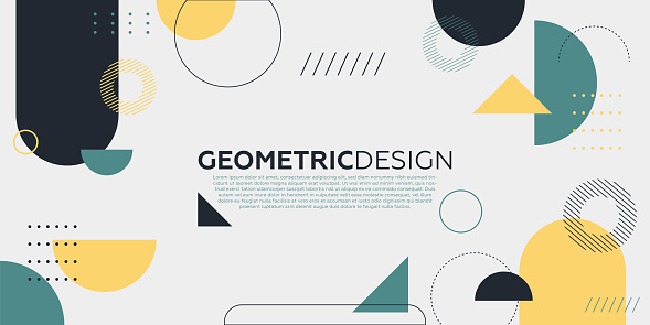 Trendy abstract art geometric background with flat, minimalist style. Vector poster.