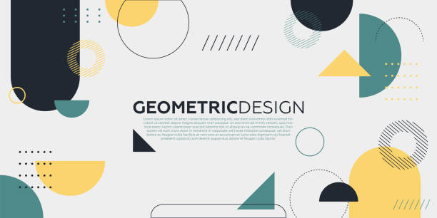 Trendy abstract art geometric background with flat, minimalist style. Vector poster. geometric shapes, Social Media, Pattern, Backgrounds, Design,Circle, Abstract, geometric shape stock illustrations