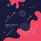 Trendy abstract art geometric background with flat, minimalistic style. Vector poster with elements for design