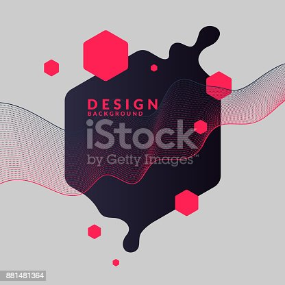 istock Trendy abstract background. Composition of geometric shapes and splash 881481364