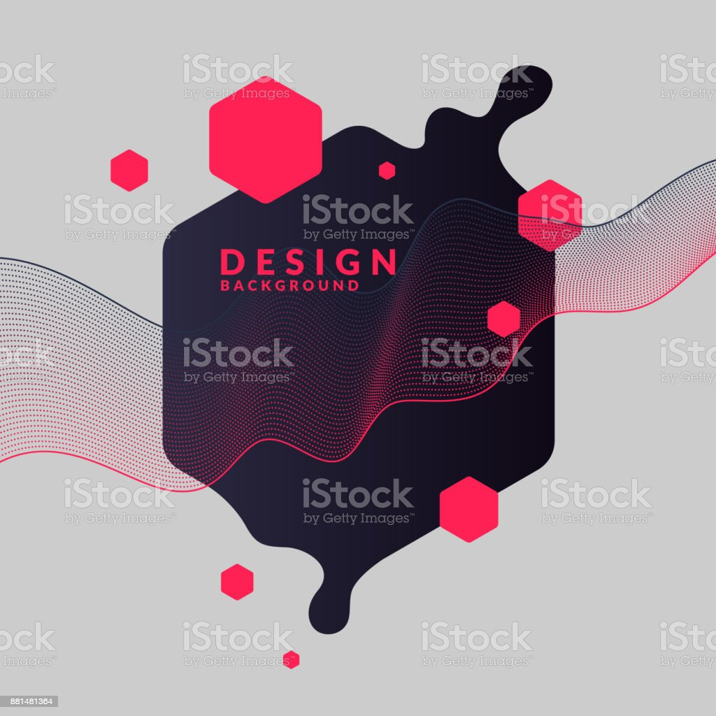 Trendy abstract background. Composition of geometric shapes and splash - ilustração de arte vetorial