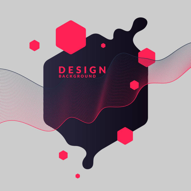 Trendy abstract background. Composition of geometric shapes and splash vector art illustration