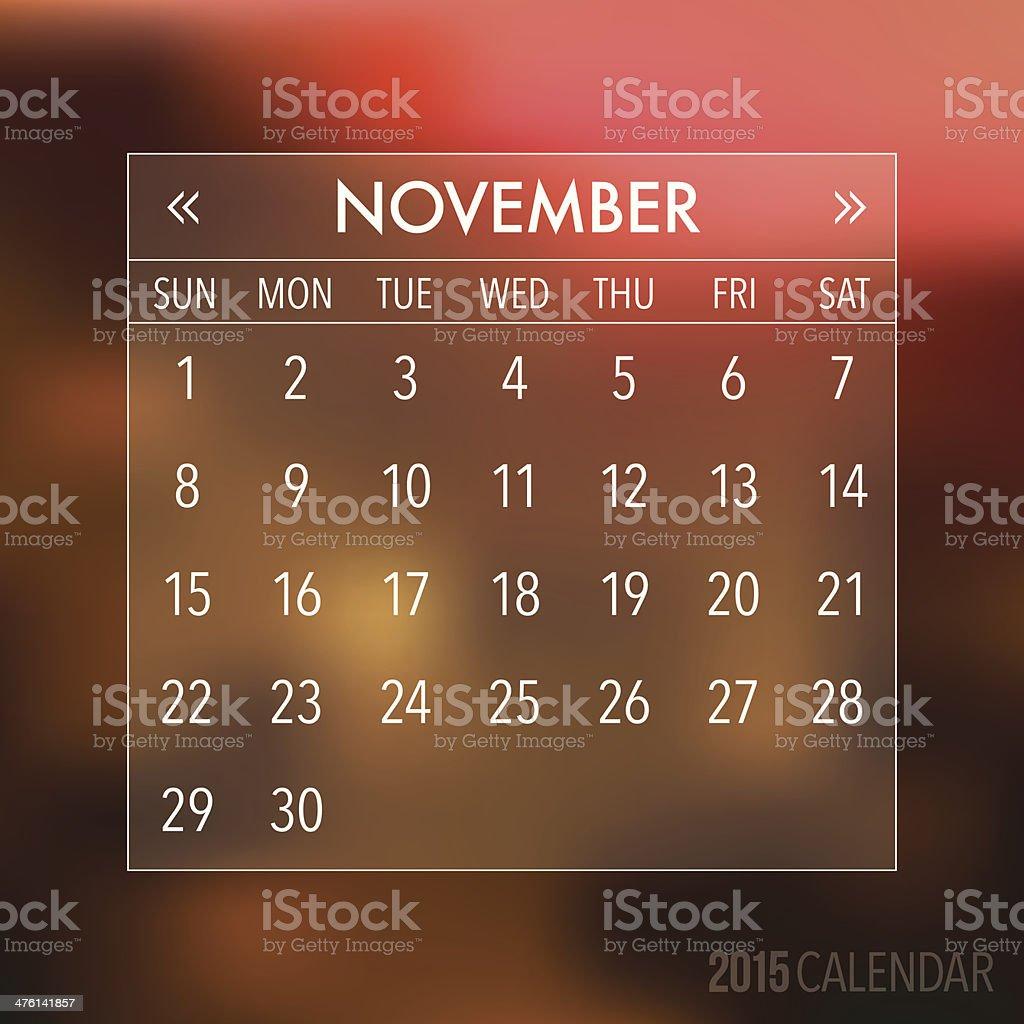 Trendy Abstract Blurry Hipster 2015 Calendar vector art illustration