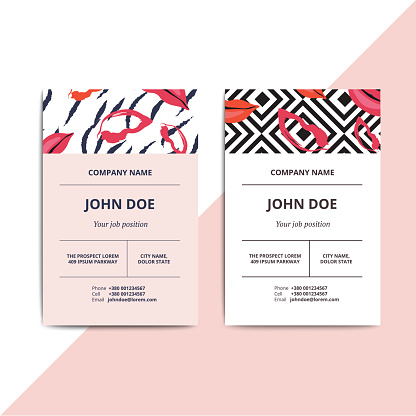 Trendy abstract business card templates. Modern luxury beauty salon or cosmetic shop layout with artistic lips pattern. Vector fashion glamour background design with data sample text.
