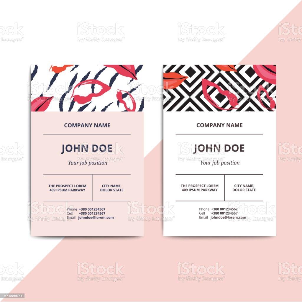 Trendige abstrakte Visitenkarten-Vorlagen. Moderne Luxus Beauty-Salon und Kosmetik Shop Layout mit künstlerischen Lippen Muster. Vektor-Modedesign-Glamour-Hintergrund mit Beispieltext für die Daten. – Vektorgrafik