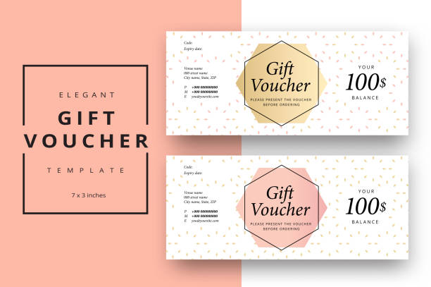 Trendy abstract gift voucher card templates. Modern discount coupon or certificate layout with artistic stroke pattern. Vector fashion bright background design with information sample text. Trendy abstract gift voucher card templates. Modern discount coupon or certificate layout with artistic stroke pattern. Vector fashion bright background design with information sample text. coupon stock illustrations
