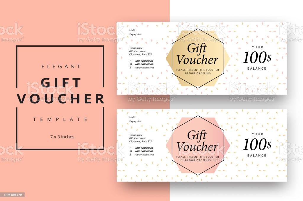 Trendy abstract gift voucher card templates. Modern discount coupon or certificate layout with artistic stroke pattern. Vector fashion bright background design with information sample text. vector art illustration