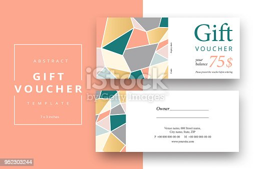 Trendy Abstract Gift Voucher Card Templates Modern Discount Coupon