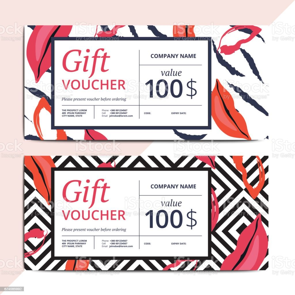Trendy Abstract Gift Voucher Card Templates Modern Luxury Discount ...