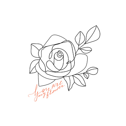 Trendy abstract one line rose flower with calligraphy phrase.