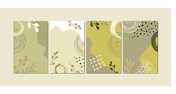 Trendy abstract templates with floral and geometric elements.