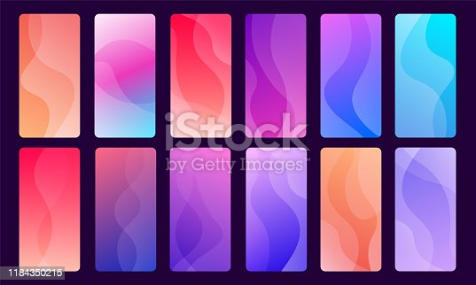 Set of 12 trendy and beautiful mobile phone wallpapers using, gradients and abstract waves. Used for mobile phone apps and websites backgrounds.