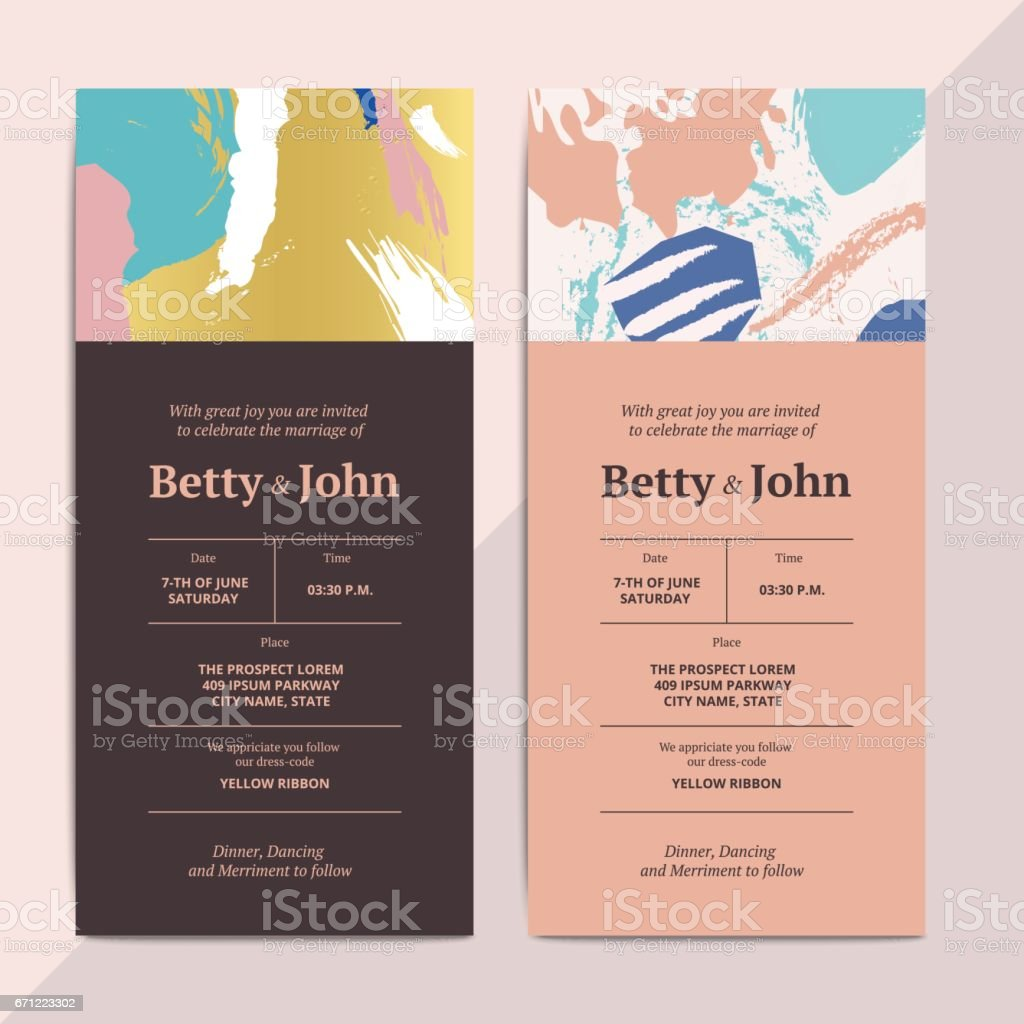 Trendy Abstract Wedding Invitation Cards Templates Stock Vector Art