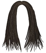 trendy african long  hair dreadlocks . realistic  3d . fashion beauty style .