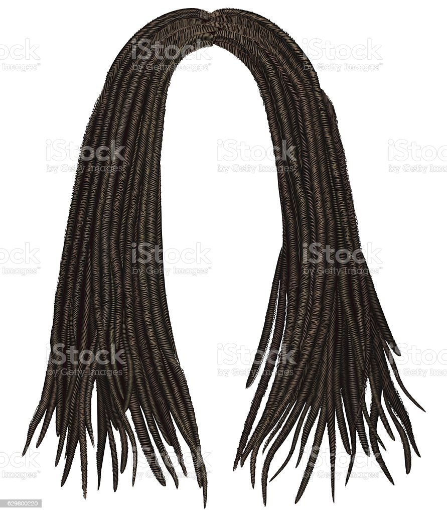 trendy african long  hair dreadlocks . realistic  3d . fashion beauty style . vector art illustration