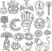 Monochrome doodle set of trendy magic tattoo designs isolated on white background vector illustration