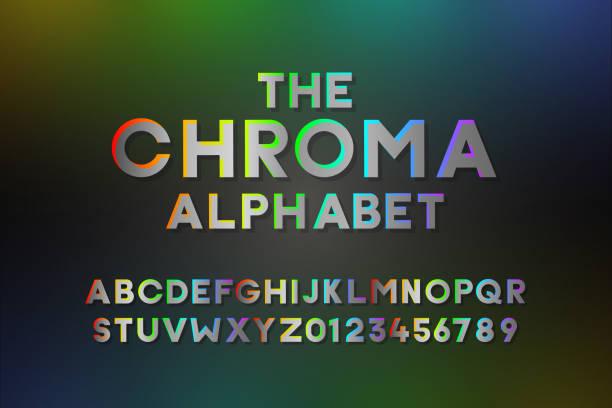 stockillustraties, clipart, cartoons en iconen met trendy alfabet met gradiënten in alle kleuren. moderne vector font designeffect met alle kleuren van de regenboog. bevat letters en cijfers - green screen