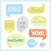 Trendy and colorful speech bubbles set with some words