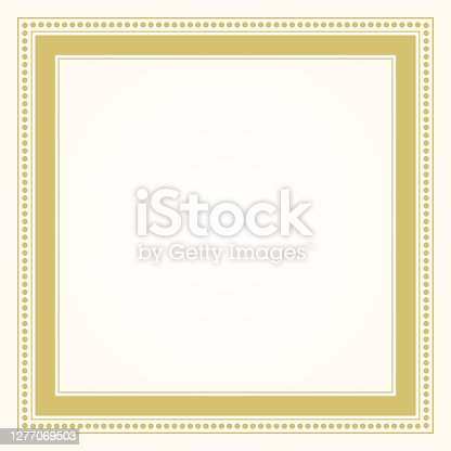 istock Trendy and stylish simple formal golden square shape line and dots border frame blank card design element 1277069503