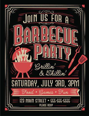 Vector illustration of a Trendy and stylized Barbecue Party invitation design template for summer cookouts and celebrations. Includes bbq grill and utensils, placement text. Easy to edit and customize with layers. Download includes vector eps 10 and high resolution jpg. Other color variations available.
