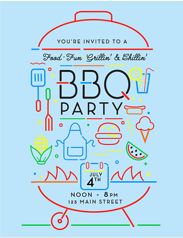 Trendy and stylized icons in Barbecue Party invitation design template for summer cookouts and celebrations