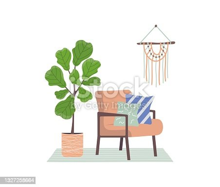 Trendy armchair with cushions and a plant. Retro style furniture. Scandinavian style interior. Macrame on the wall. Upholstered furniture for the room. Vector illustration on white isolated background