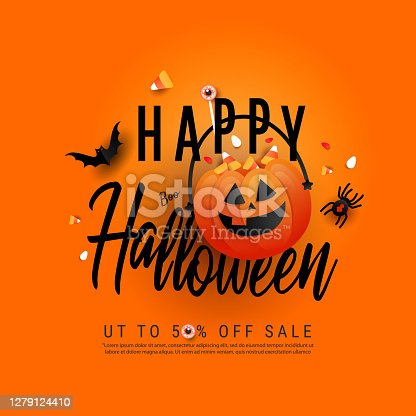 istock Trendy art happy Halloween poster with orange trick or treat pumpkin and color candy, bats, spider or black widow spider. Flat lay, top view with copy space 1279124410