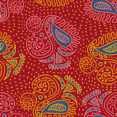 trendy asian tribal ethnic motifs hand drawn seamless pattern with batik paisley style nature drawing on red background