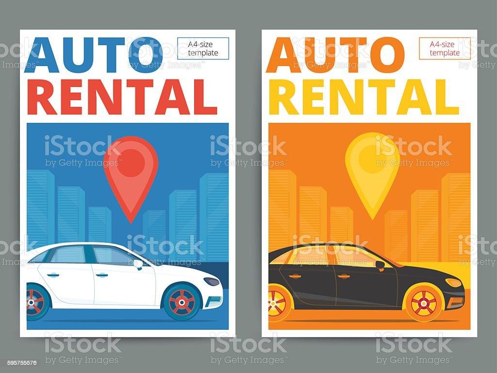 Trendy Auto Rental Service Poster Design Modern Vector Car Hire ...