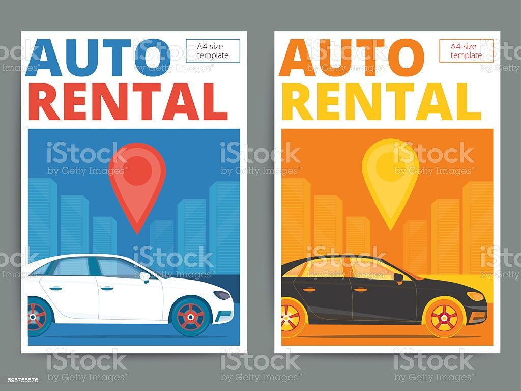 Trendy auto rental service poster design. Modern vector car hire vector art illustration