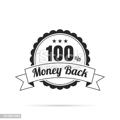 istock Trendy Badge (outline, line art) - 100% Money Back 1310637562